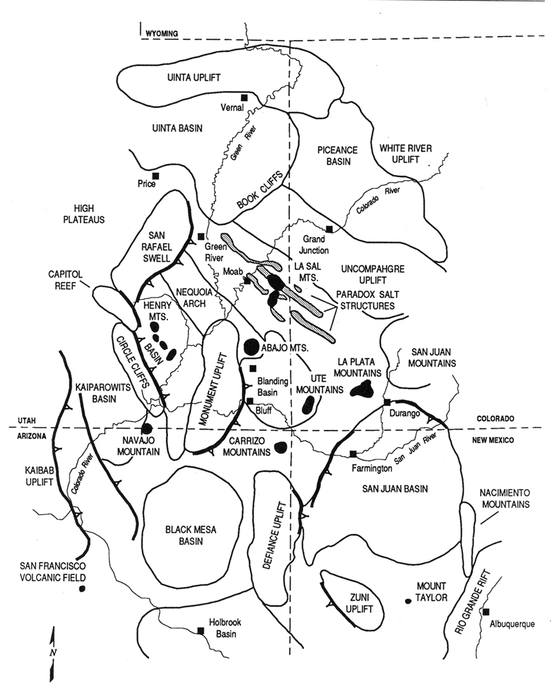 Capitol Reef Focus - Map of colorado plateau region